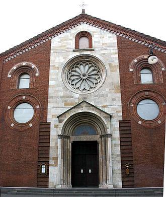 San Giovanni in Conca - Rebuilt façade of San Giovanni in Conca in the modern Waldensian church of Milan.