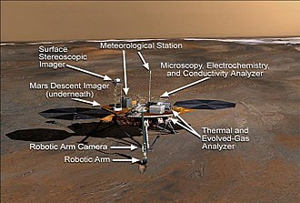 Phoenix (spacecraft) - A labeled look at NASA's Phoenix Mars lander.