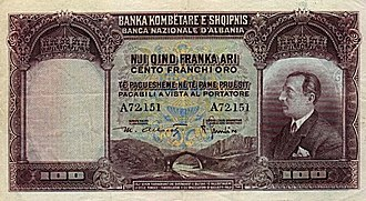 Zog I of Albania - 100-franc banknote of Zog's reign