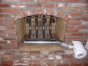 Grate heater - Another example of a large and powerful grate heater system that incorporate a large, thermally-conductive heating design and a single-blower, high-CFM, forced-air delivery system
