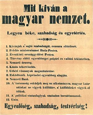 12 points of the Hungarian Revolutionaries of 1848 - The original 12 points of 1848