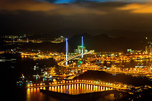 Stonecutters Bridge - Stonecutters Bridge at night, view from Sky-100