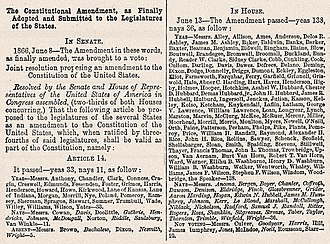 Fourteenth Amendment to the United States Constitution - Senate and House votes on the Fourteenth Amendment