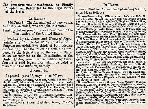 14th Amendment Senate & House votes June, 1866