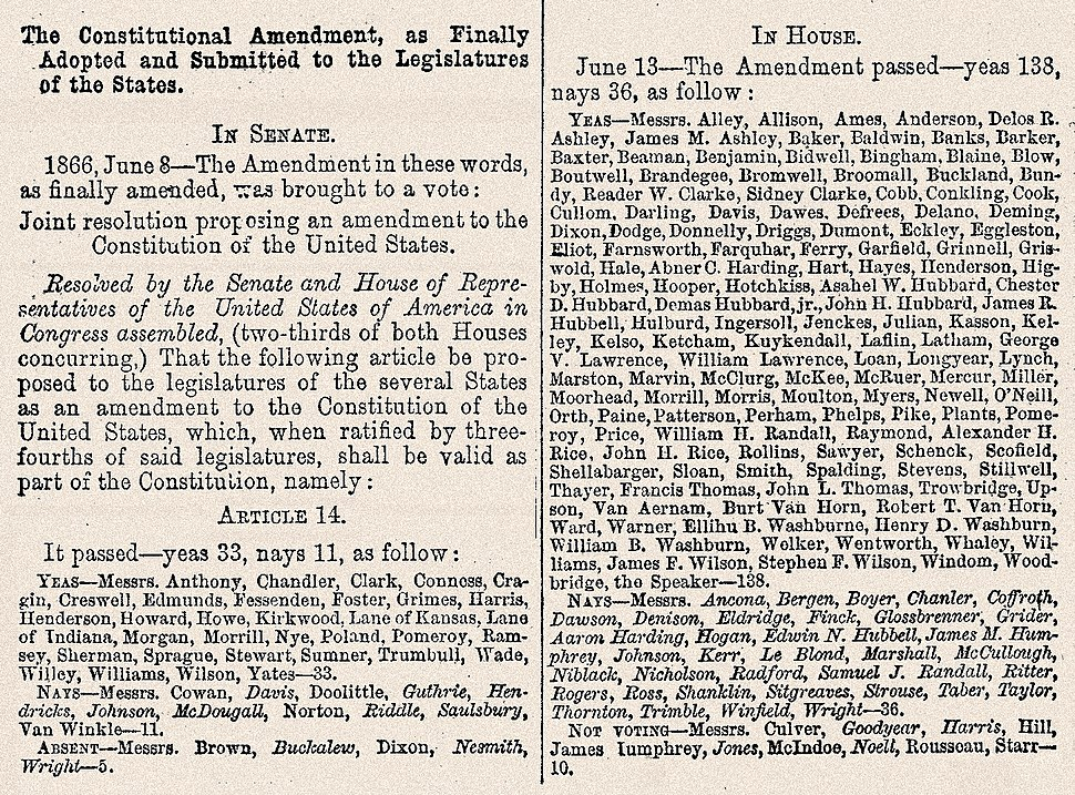 14th Amendment Senate & House votes June, 1866