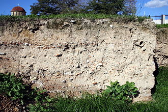 Excavation (archaeology) - Stratigraphy in the excavation area in the Kerameikos Cemetery (Athens).