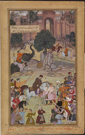 Jhalawar - 1561 - The governor of Gagraun fort surrenders the keys to Akbar.