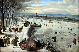 "Scheldt - ""View of Antwerp with the frozen Scheldt"" (1590) by Lucas van Valckenborch."