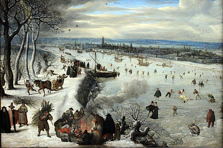 """View of Antwerp with the frozen Scheldt"" (1590) by Lucas van Valckenborch 1593 Valckenborch Ansicht von Antwerpen mit zugefrorener Schelde anagoria.JPG"