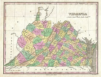 Virginia Conventions - Map of Virginia 1792–1863, following the western Kentucky cession during four 1800s Conventions. Note that the county boundaries are as of 1827.