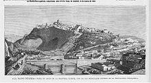 Grabado de 1883 deArcos de la Frontera(Cádiz), unos de los principales centros de la propaganda anarquista.