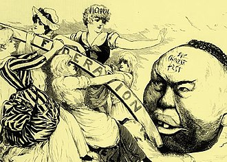 Federation of Australia - Published in 1888 this cartoon depicts the anti-Chinese sentiment that was one of the driving forces behind the push for federation.
