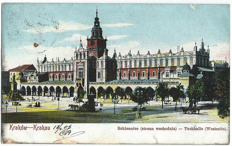 > La Piazza del Mercato a Cracovia nel 1900.