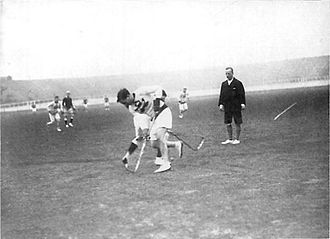 Lacrosse in Canada - A lacrosse game between the British and Canadian national teams during the 1908 Summer Olympics.