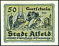 1919-06-18 Stadt Alfeld (Leine) Gutschein über 0,50 Mark fünzig Pfennig Käte Reiche Galgen Gehängter Ritter Kirche St. Nicolai Reiter Frau Pferd.jpg