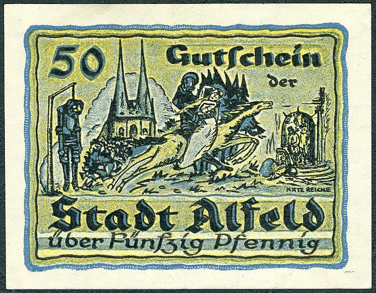 File:1919-06-18 Stadt Alfeld (Leine) Gutschein über 0,50 Mark fünzig Pfennig Käte Reiche Galgen Gehängter Ritter Kirche St. Nicolai Reiter Frau Pferd.jpg