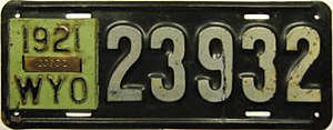 Vehicle registration plates of Wyoming - Image: 1921 Wyoming license plate