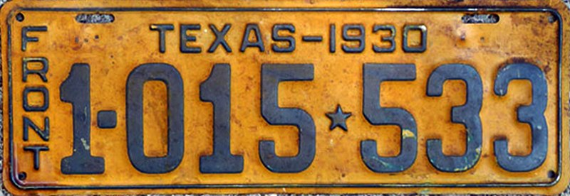 File:1930 Texas license plate 1-015*533 front.jpg