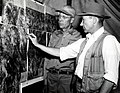 1955. Compton and McComb examine aerial photo mosaic of the Powder River control unit, Oregon. Western spruce budworm control project. (32213735914).jpg