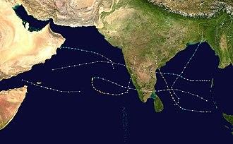 1977 North Indian Ocean cyclone season - Image: 1977 North Indian Ocean cyclone season summary