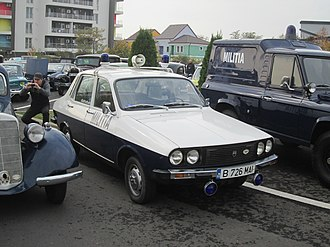 Militsiya - Romanian miliția car in the typical livery it featured starting with the early 1970s. This particular example is a Dacia 1310 from 1982. This is one of the few examples of Eastern European adaptations of this name.