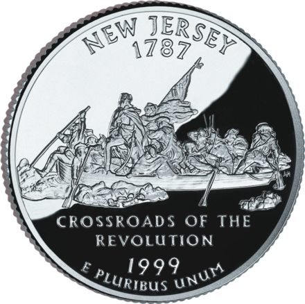 The New Jersey State Quarter, released in 1999, with a depiction of Washington Crossing the Delaware 1999 NJ Proof.png