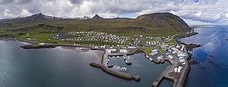 Ólafsvík - Aerial panorama of the town in 2017