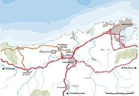 Localización de Altamira con respecto a Santander.