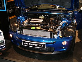 2005 blue MINI Cooper convertible engine.JPG