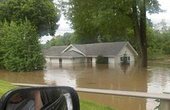 House on the Southern Johnson County, Indiana line underwater due to flooding