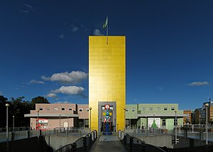 Groninger Museum - Entrance of the museum in 2011, with the yellow tower that was designed by Alessandro Mendini