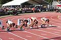 2013 IPC Athletics World Championships - 26072013 - Dilba Tanrikulu of Turkey, Albertina Johannes of Namibia, Katarzyna Piekart of Poland and Tereza Jakschova of Czech Republic during the Women's 100m - T46 second semifinal.jpg