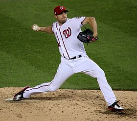 2016-10-13 Max Scherzer pitch NLDS Game 5 for the Nationals 05 (cropped).jpg