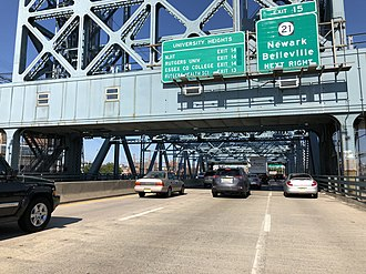 East Newark, New Jersey - View west along I-280 in East Newark, just before crossing the Stickel Bridge