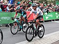 2018 Tour of Britain stage 2 113 Matt Holmes and 174 Vasil Kiryienka.JPG