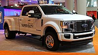 2020 Ford F-450 Limited Super Duty with Powerstroke Turbo Diesel engine, front NYIAS 2019.jpg