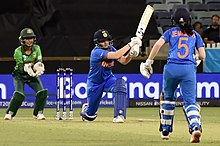 Shafali Verma hits out during the Group A clash between India and Bangladesh at the WACA Ground