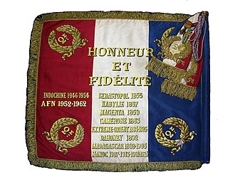 2nd Foreign Infantry Regiment - Regimental Colors of the 2nd REI with Honneur et Fidélité.