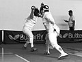 2nd Leonidas Pirgos Fencing Tournament. Lunge by the fencer on the right, counter-attack by Ilias Konstantinidis.jpg