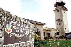 Aviano Air Base - The damaged control tower and base operations building on Homestead AFB, Florida, after Hurricane Andrew smashed into the base on 24 August 1992.