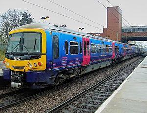 Stevenage railway station - 365537 heading north though Stevenage railway station on platform 3