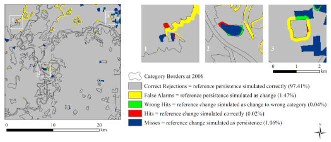 Example of a 3 map comparison being used to validate a land change model.