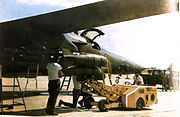 428th Tactical Fighter Squadron Combat Lancer F-111A being loaded with bombs March 1968