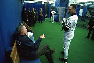 Derek Jeter - Jeter chats with President George W. Bush before Game 3 of the 2001 World Series