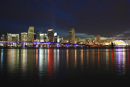 State Road 886 (Port Boulevard) connects downtown and PortMiami by bridge over Biscayne Bay. A306, Skyline at twilight, Miami, Florida, USA, 2010.JPG