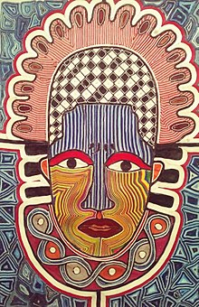 This is one of the African arts made with strings on a canvas. The title: AFRICAN MASK made by Olu Festus. Description: Ritual and ceremonial masks are an essential feature of the traditional culture of the peoples of Africa. While the specific implications associated to ritual masks widely vary in different cultures, some traits are common to most African cultures. For instance, masks usually have a spiritual and religious meaning and they are used in ritual dances and social and religious events.