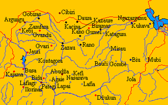 Hausa Kingdoms - Major cities of Hausaland. Modern borders are in red.