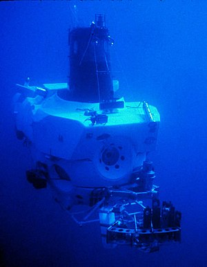 DSV Alvin - Alvin in 1978, a year after first exploring hydrothermal vents.  The rack hanging at the bow holds sample containers.