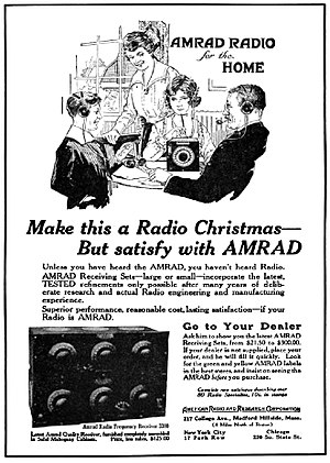 WGI (defunct) - Advertisement for AMRAD radio receivers (1922)