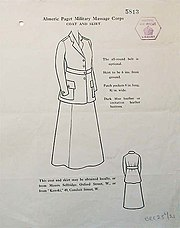 line drawing showing coat and skirt design for female members of the Almeric Paget Military Massage Corps in 1916